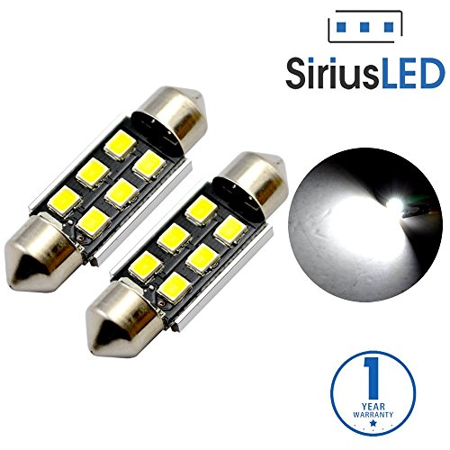SiriusLED Super Bright 2835 Chipset 6 SMD Canbus Error Free LED Festoon Bulbs for Car Interior License Plate Dome Courtesy Lights 1.50