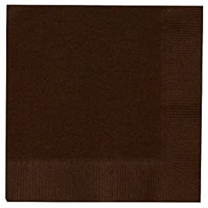 Creative Converting 573038B Chocolate Brown Beverage Napkin, 3 Ply, Solid