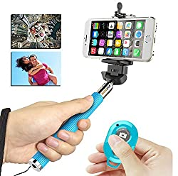 Monopod Handheld Selfie Stick Z07-1, E LV Monopod Extendable Selfie Stick with Adjustable Phone Holder and Wireless Remote Shutter for iPhone, Camera, Android and Samsung Galaxy / Notes- BLUE