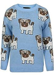 Lollipop Clothing Womens Knitted Pug Pattern Jumper Sweater Top Cute Dog Lover Girls Warm