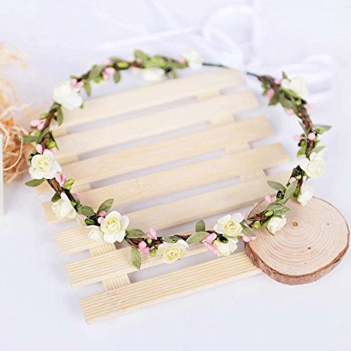 Bohemian Paper Flowers Crown Green Leaf Bridal Hair Garland Wreath Accessory Floral Halo Coachella Headband Rustic Theme Wedding Bride Bridesmaid Headwear Headdress Headpiece (Ivory)