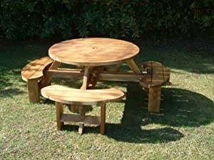 Picnic Table 8 Seater Round Pub Bench Garden Furniture