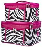World Traveler 2-Piece Zebra Print Cosmetic Train Case Set, Black and White with Pink Trim