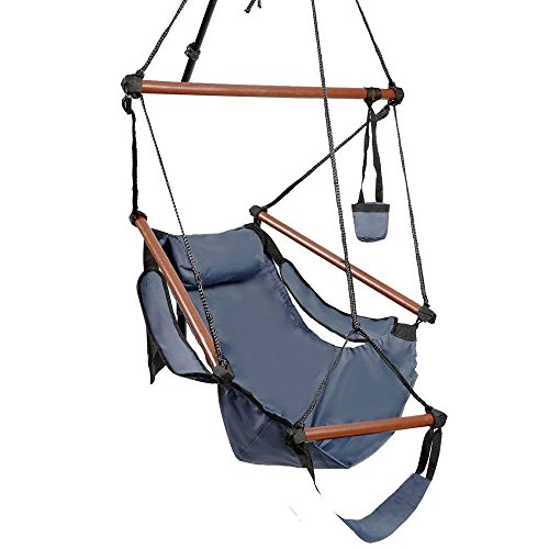 NEW nags head hammocks Hammock Hanging Chair Air Deluxe Sky Swing Outdoor Chair Solid Wood 250lbs Blue (Tie Dye Tarp compare prices)