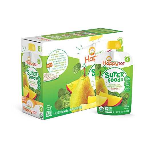 Happy Tot Organics Super Foods, Pears, Mangos and Spinach + Super Chia, 4.22 Ounce Pouches (Pack of 16)