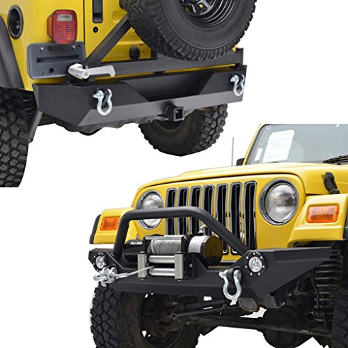 E-Autogrilles YJ TJ Jeep Wrangler Front Bumper with LED Lights and Rear Bumper with Tire Carrier & Hitch Receiver Combo