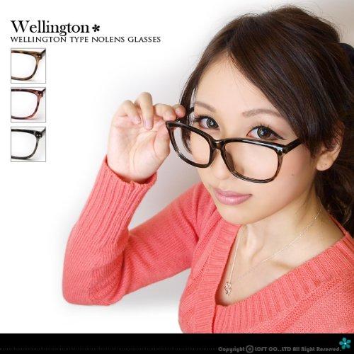 レンズ無しだから、まつ毛にあたらない&曇らないウェリントンタイプセルフレームダテ眼鏡(ソフトケース+眼鏡拭き付) フリー ストロベリーアイス