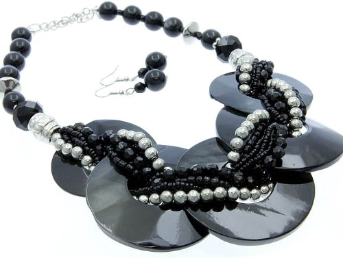 NECKLACE AND EARRING SET METAL LUCITE BEAD BLACK Fashion Jewelry Costume Jewelry fashion accessory Beautiful Charms