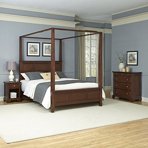 Home Styles Furniture 5529-6103 Chesapeake Canopy Bed/Night Stand/Chest, King