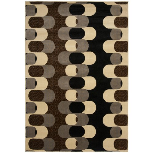 5.25' x 7.25' Majestic Puzzle Links Dark Chocolate and Pewter Area Throw Rug