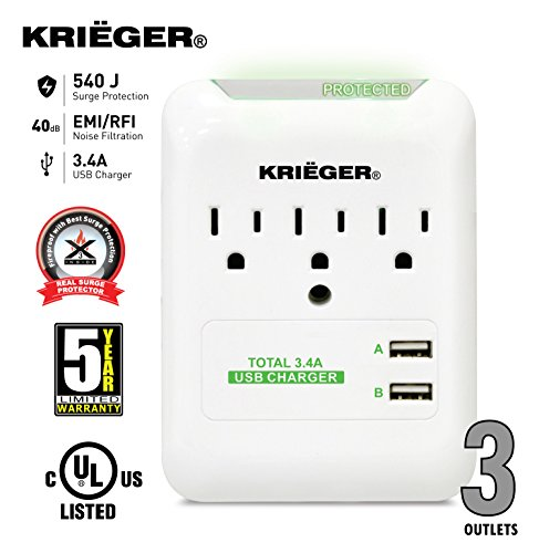 KRIËGER UL 1449 Wall Mount 3 Outlet 540J Advanced Fireproof Surge protector with X3 MOV Technology - Dual USB Ports (3.4A max) fast charge your Iphones, android galaxy, Samsung, ipad tablet and more (Surge Protector Appliance compare prices)