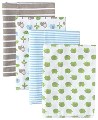 Gerber Baby-Boys Newborn 4 Pack Flannel Burp Cloths - Gorilla, Blue, One Size