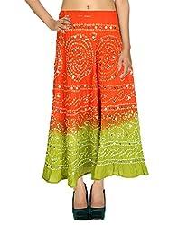 Antique Casual Skirt Cotton Orange Ethnic Tie Dye For Women By Rajrang