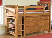 Hot Sale Bolton 9851Y00LS8020 Bennington Low Loft Bed with Wakefield 7-Drawer and Bookshelf, Honey