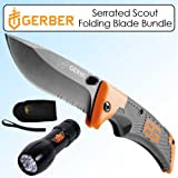 Gerber GB-31-000754 Scout Folding Blade Serrated Bundle With UZI 9 LED Flashlight
