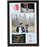 Clixicle **Free Customization** Best Friends Forever - Blue Pink Hearts Photo Collage Poster With Brown Frame,...