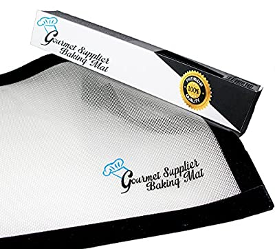 """Silicone Baking Mat - Sheet Oven Tool - Rectangle - Bakeware Professional Material - Nonstick, for Cookies, Utensils Silicon Supplies with 2 Pieces Set - Black Frame 0.75 mm thickness 16.5""""x11.5"""" Easy Clean, Use - Kitchen and Dining -Best Life Guarantee"""