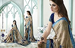 kavya shopping beautiful beige and blue colour georgett saree