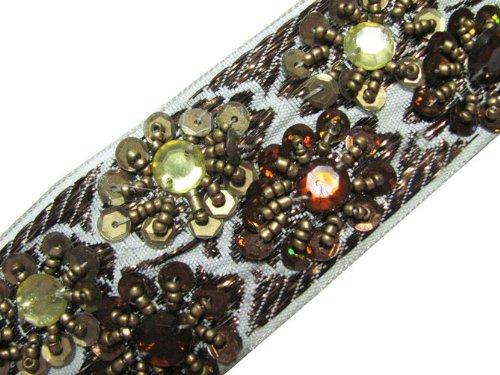 Metallic Cream Base Beaded Trim Ribbon Sequin 4.5 Yard Lace