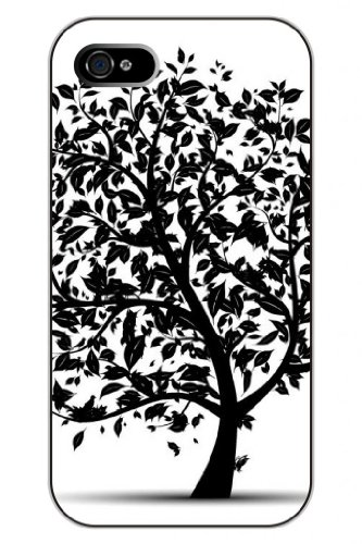 Sprawl Stylish Unique Design Skech Of Black Flying Leaves Hard Plastic Snap On Iphone 4S Case Tree Of Life front-1015242