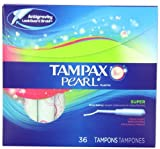 Tampax Tampax Pearl Plastic, Super Absorbency, Fresh Scent Tampons 36 Count (Pack Of 2)