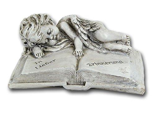 Grabschmuck Grabstein Buch mit Spruch Engel Gedenkstein Grabdeko Grab Deko Figur
