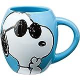 Vandor 85401 Peanuts Joe Cool 18 oz Oval Ceramic Mug, Blue