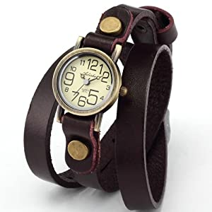 AMPM24 Montre Quartz Bracelet Cuir Triple Tour Retro Vintage Style Marron WAA384
