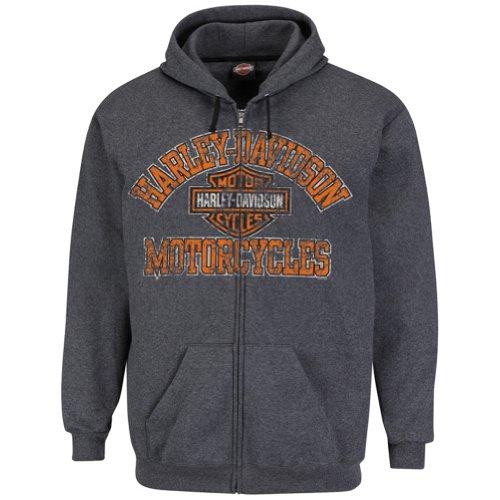 Harley-Davidson Mens Nightmare Fleece Full Zip Charcoal Long Sleeve Hoodie (3X-Large)