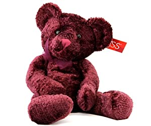 "Russ Serenade Teddy Bear Eggplant Burgundy Purple Chenille 18"""