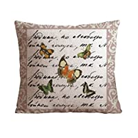 "OneHouse Butterflies Quotes Square Cotton Linen Pillow Cover, 18""x18"" by OneHouse"