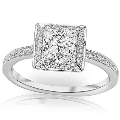1.33 Carat Gia Certified Princess Cut / Shape 14K White Gold Victorian Halo Style Square Shaped Pave Set Round Diamond Engagement Ring ( K Color , Vs1 Clarity )