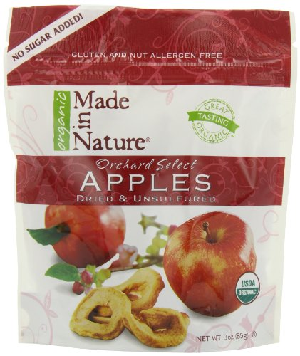 Made In Nature Organic Orchard Select  Apples, Dried And Unsulfured, 3-Ounce Bags (Pack of 6)