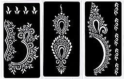 Zaffron Henna Mehendi Mehndi Stencil Sheets for Eid Ramadan Diwali Mehendi Raat or Wedding Parties (Design Pack 5, Set of 6 Sheets)