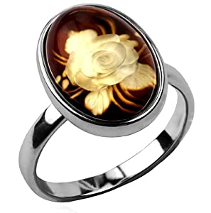 Certified Genuine Baltic Amber and Sterling Silver Cameo Small Ring Sizes 5,6,7,8,9,10,11,12
