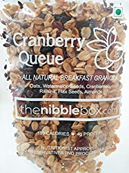 Cranberry Queue - All Natural (No added Sugar) Breakfast Granola - Healthy, Nutritious oat Cereal/ healthy snack enriched with fruits, nuts and seeds (from thenibblebox.com (80g x 3 packs))