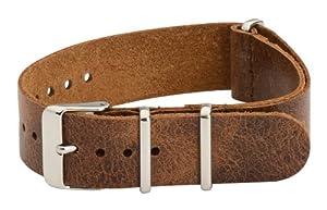18mm Premium Nato Ss Leather Worn Light Brown Interchangeable Watch Strap Band
