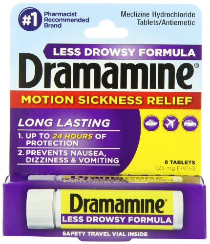 Dramamine Motion Sickness Relief Less Drowsey Formula, 8 Count (831248001982)