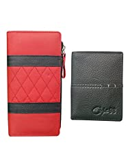 Style 98 Valentine's Day Special Men And Women Clutch And Wallet Combo Pack (Black And Red)
