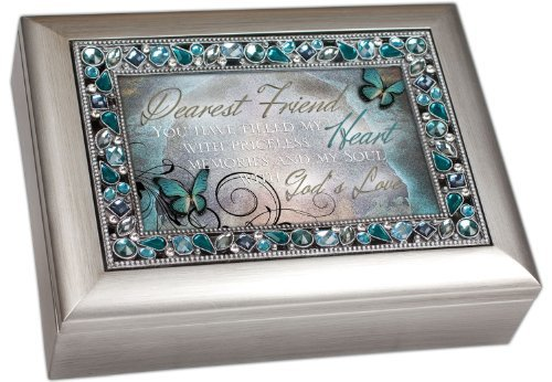 Dearest Friend Friendship Decorative Jewel Lid Musical Music Jewelry Box Plays How Great Thou Art