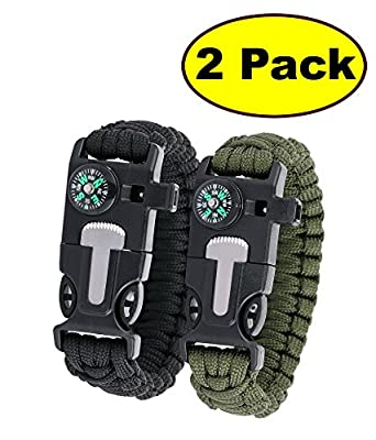 "JJMG 5 in 1 Multifunctional Paracord Bracelet with Compass Flint Fire Starter Scraper Whistle- Choose Length10"", 9"", 8""- 2 Pack by JJMG"