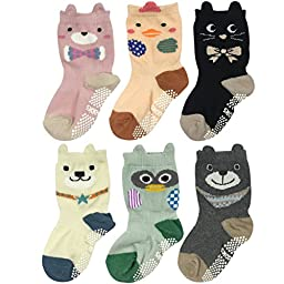 Wrapables® Peek A Boo Animal Non-Skid Toddler Socks (Set of 6), Zoo Animals (Small)