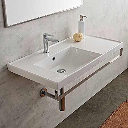 18 Inch White Ceramic Bathroom Sink, Three Hole