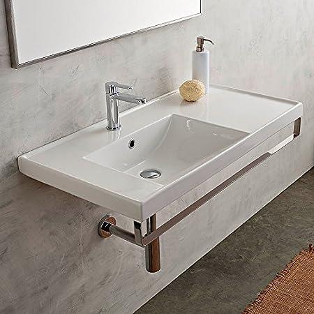 18 Inch White Ceramic Bathroom Sink, Three Hole