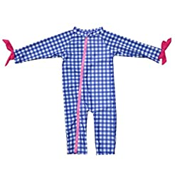 SwimZip® Baby Girl Long Sleeve Sunsuit with UPF 50+ Blue 0-6 Month