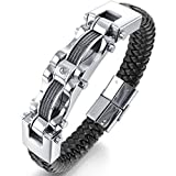 MENDINO Mens Mens Braided Bracelet Stainless Steel Cuff Bangle Black Silver Leather Stainless Steel Inch 8.5