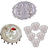 GS MUSEUM Silver Plated Rani Kumkum Plate, Silver Plated 4 Inchi Pooja Thali Nag And Silver Plated Set Of 6 Sunflower...