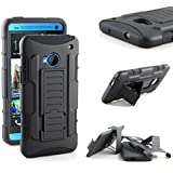 HTC ONE M7 Case, RANZ® Classic Black Rugged Impact Armor Hybrid Kickstand Cover with Belt Clip Holster Case For HTC ONE M7 + RANZ® Touch Stylus