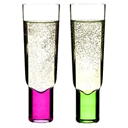 Product Image Champagne Glass Set of 2 - Green & Pink (6 oz.)