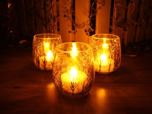 Flameless Votive LED Candles with Remote: Set of 3 Oval Glass Autumn Pattern